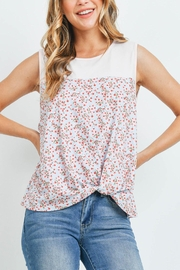Riah Fashion Solid-Contrast-Floral-Twist-Front-Top - Product Mini Image