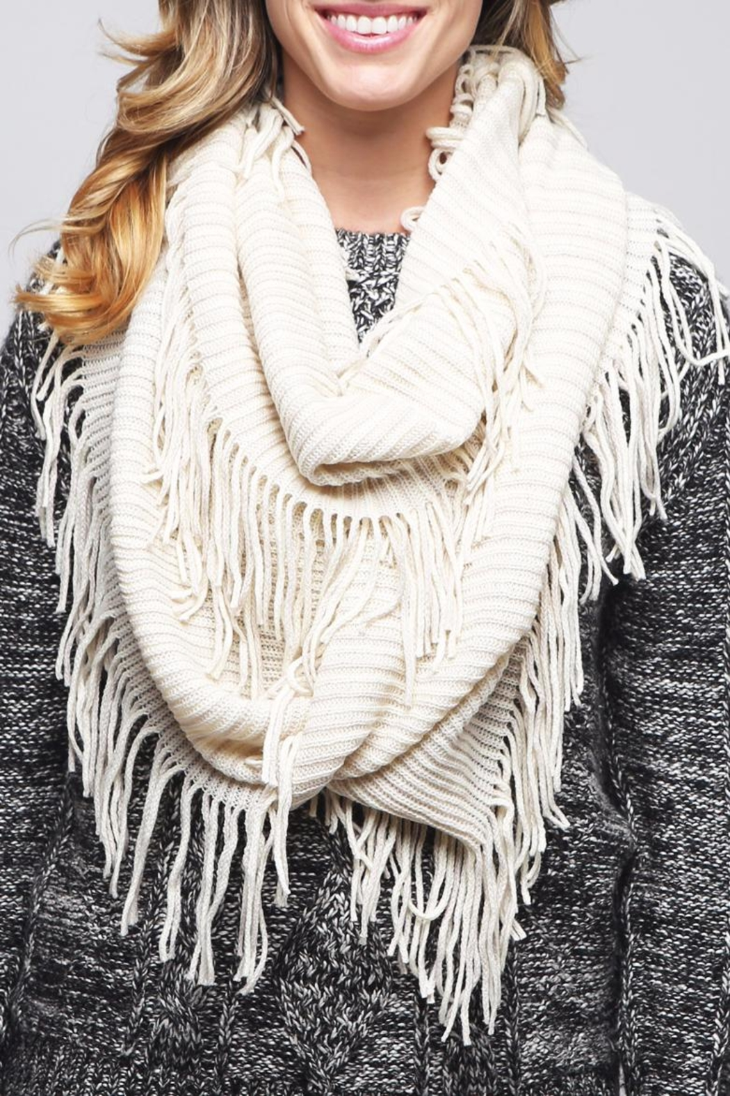 Riah Fashion Solid Infinity Fringed Scarf - Front Full Image