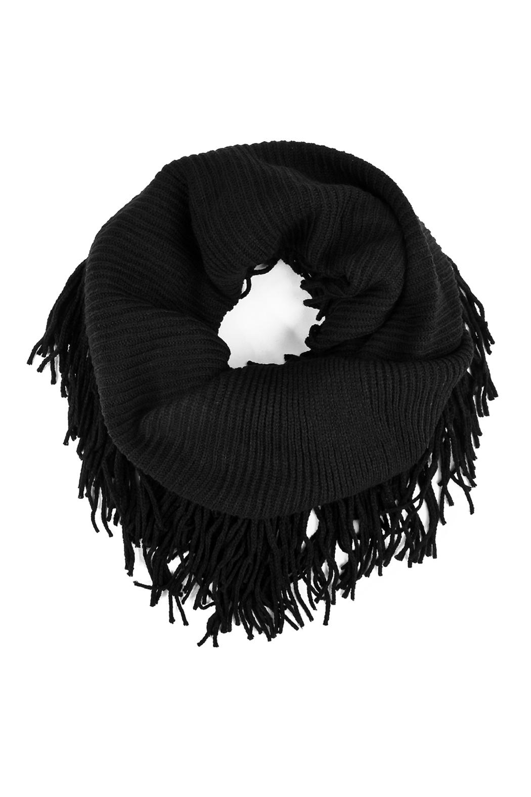 Riah Fashion Solid Infinity Fringed Scarf - Main Image
