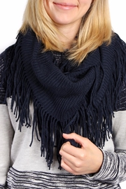 Riah Fashion Solid Infinity Fringed Scarf - Front full body