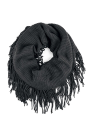 Riah Fashion Solid Infinity Fringed Scarf - Front cropped