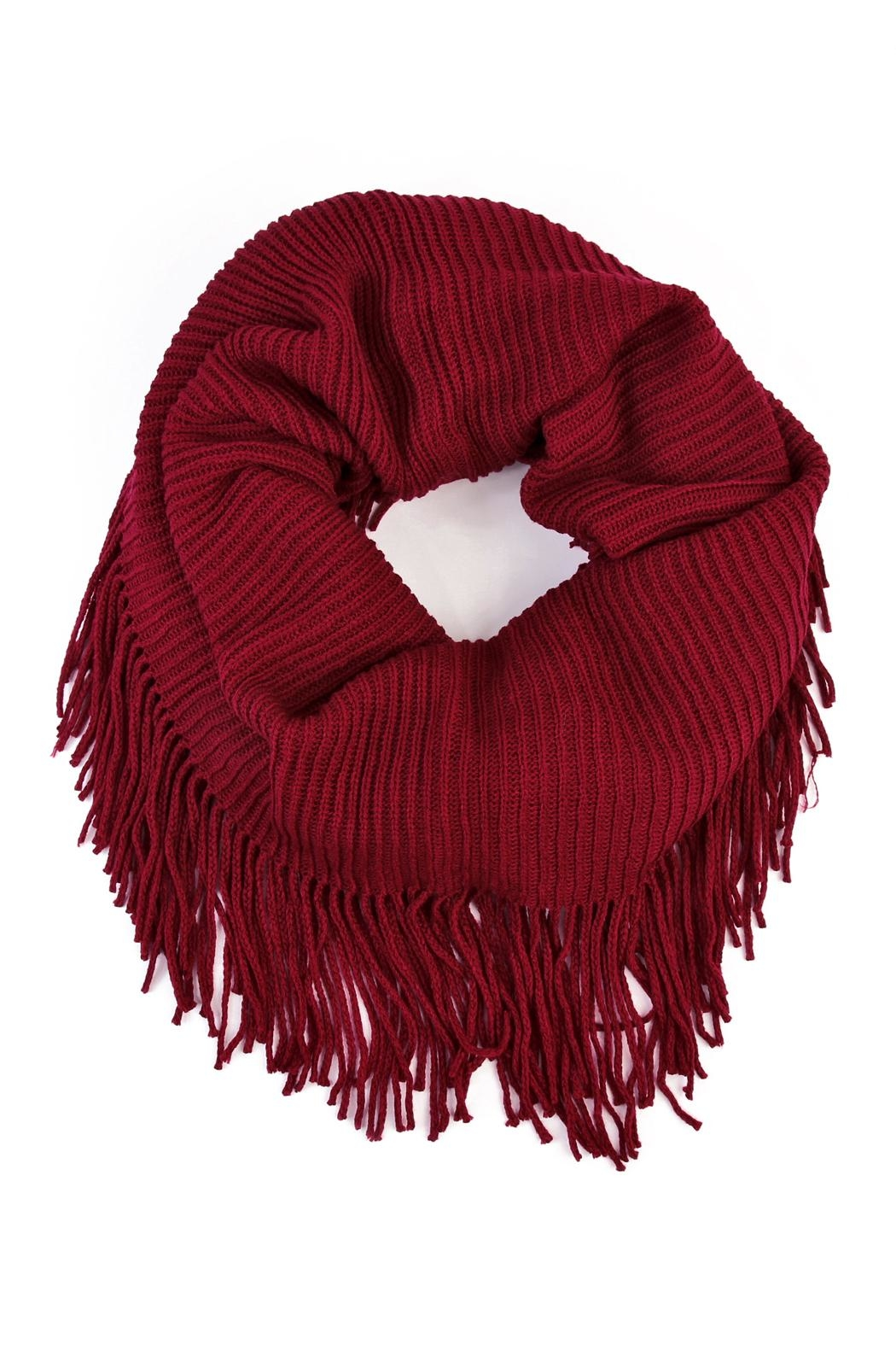 Riah Fashion Solid Infinity Fringed Scarf - Front Cropped Image