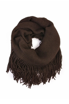 Shoptiques Product: Solid Infinity Fringed Scarf