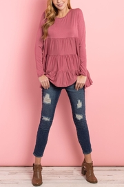 Riah Fashion Solid-Long-Sleeves-Tiered-Ruffle-Top - Product Mini Image