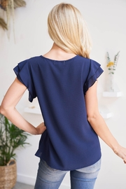 Riah Fashion Solid-Ruffle-Blouse - Front full body
