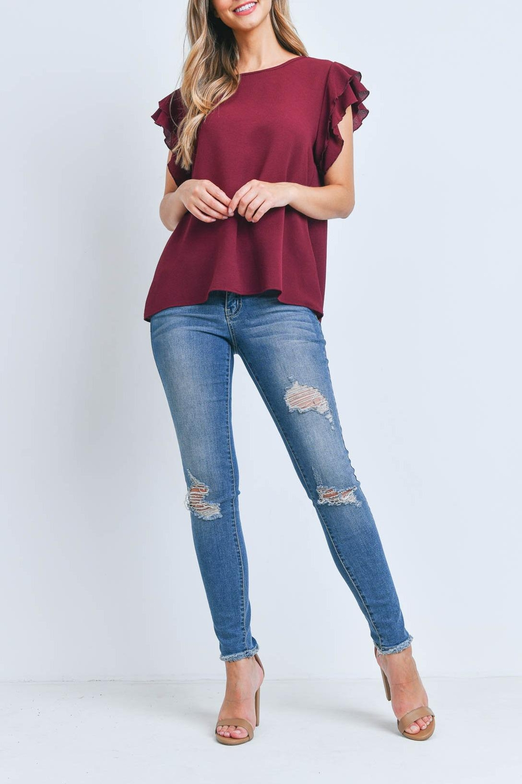 Riah Fashion Solid-Ruffle-Blouse - Front Full Image
