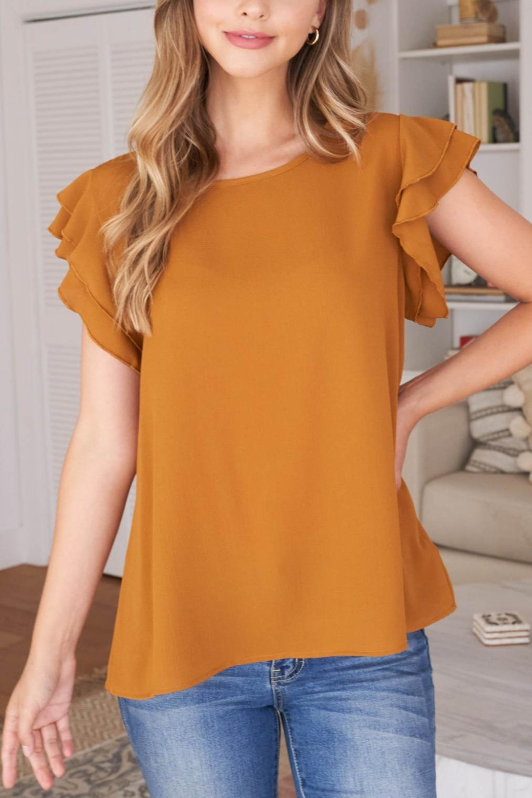 Riah Fashion Solid-Ruffle-Blouse - Side Cropped Image
