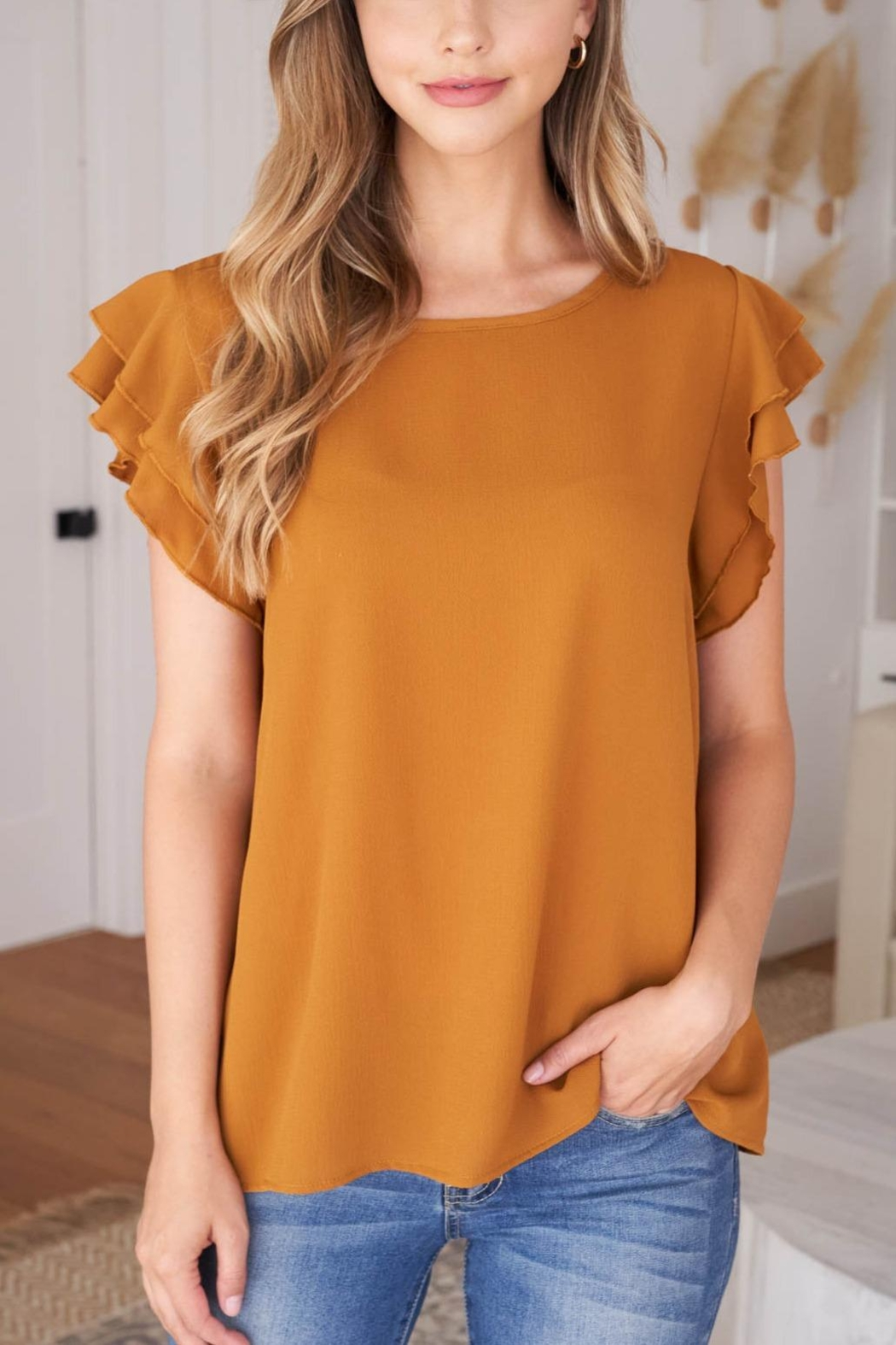 Riah Fashion Solid-Ruffle-Blouse - Front Cropped Image