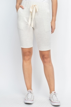Shoptiques Product: Solid-Self-Tie-Short- With-Side-Pockets