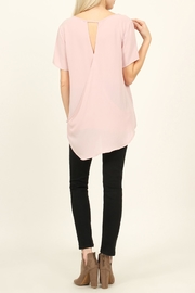 Riah Fashion Solid Surplice Back-Blouse - Side cropped