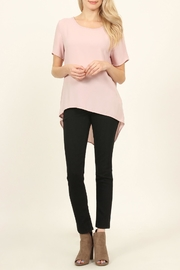 Riah Fashion Solid Surplice Back-Blouse - Front full body