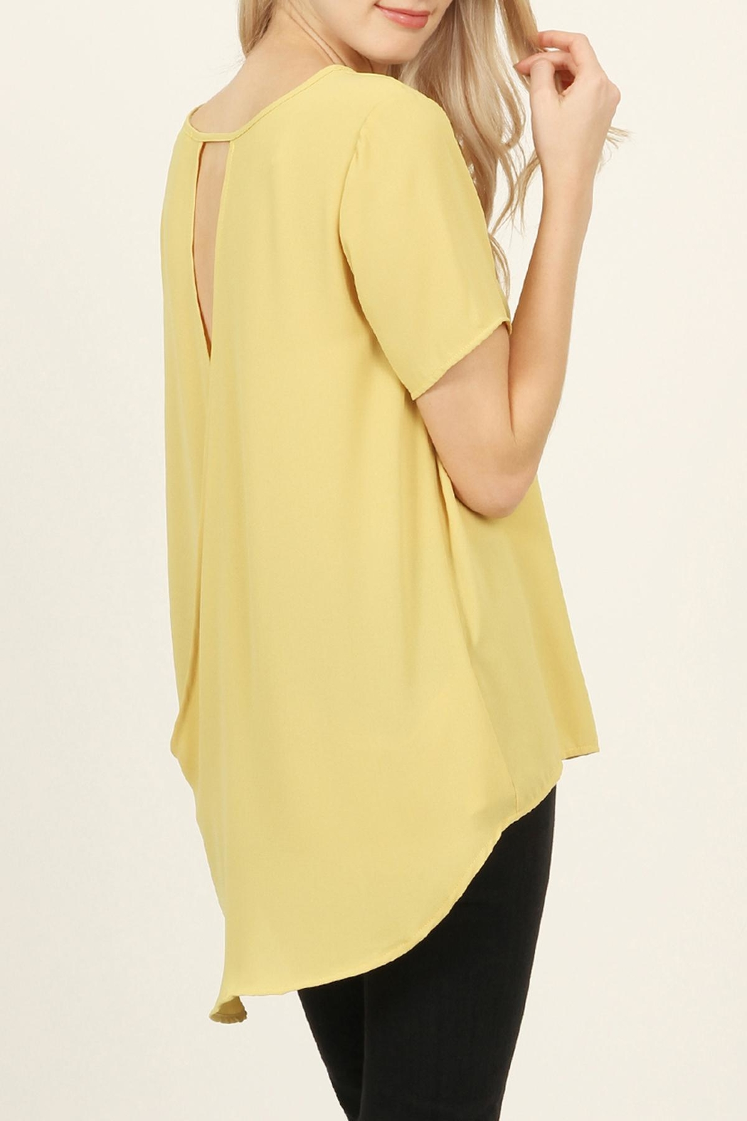 Riah Fashion Solid Surplice Back-Blouse - Back Cropped Image