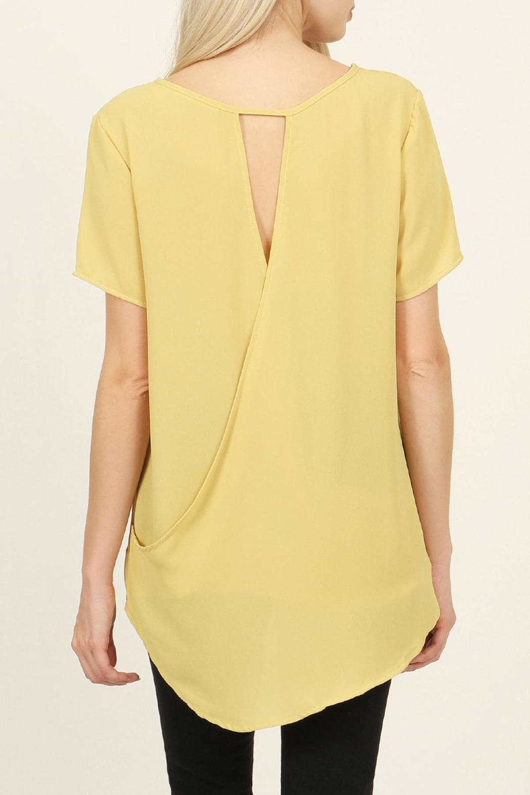 Riah Fashion Solid Surplice Back-Blouse - Side Cropped Image