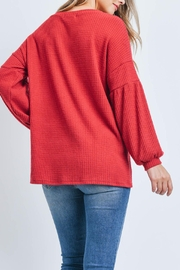 Riah Fashion Solid Waffle Puff-Sleeved-Sweater - Front full body
