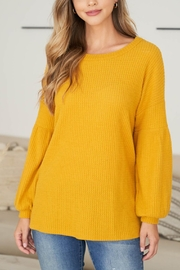 Riah Fashion Solid Waffle Puff-Sleeved-Sweater - Front cropped