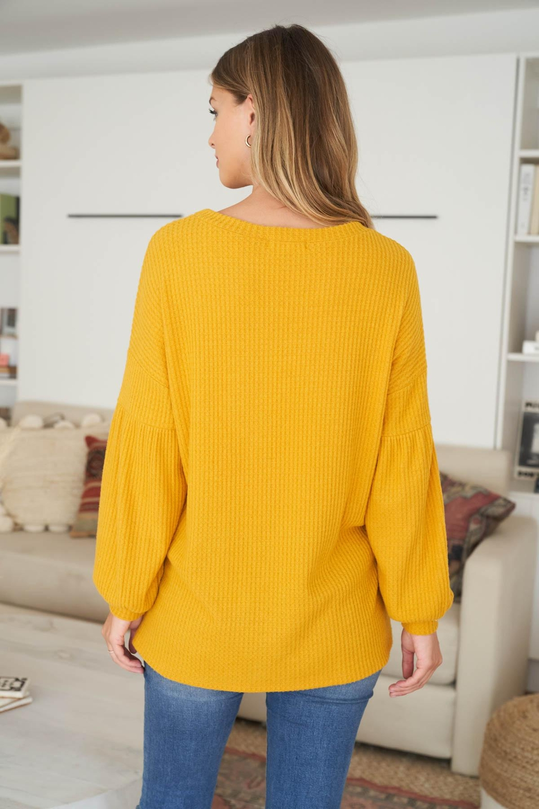 Riah Fashion Solid Waffle Puff-Sleeved-Sweater - Front Full Image