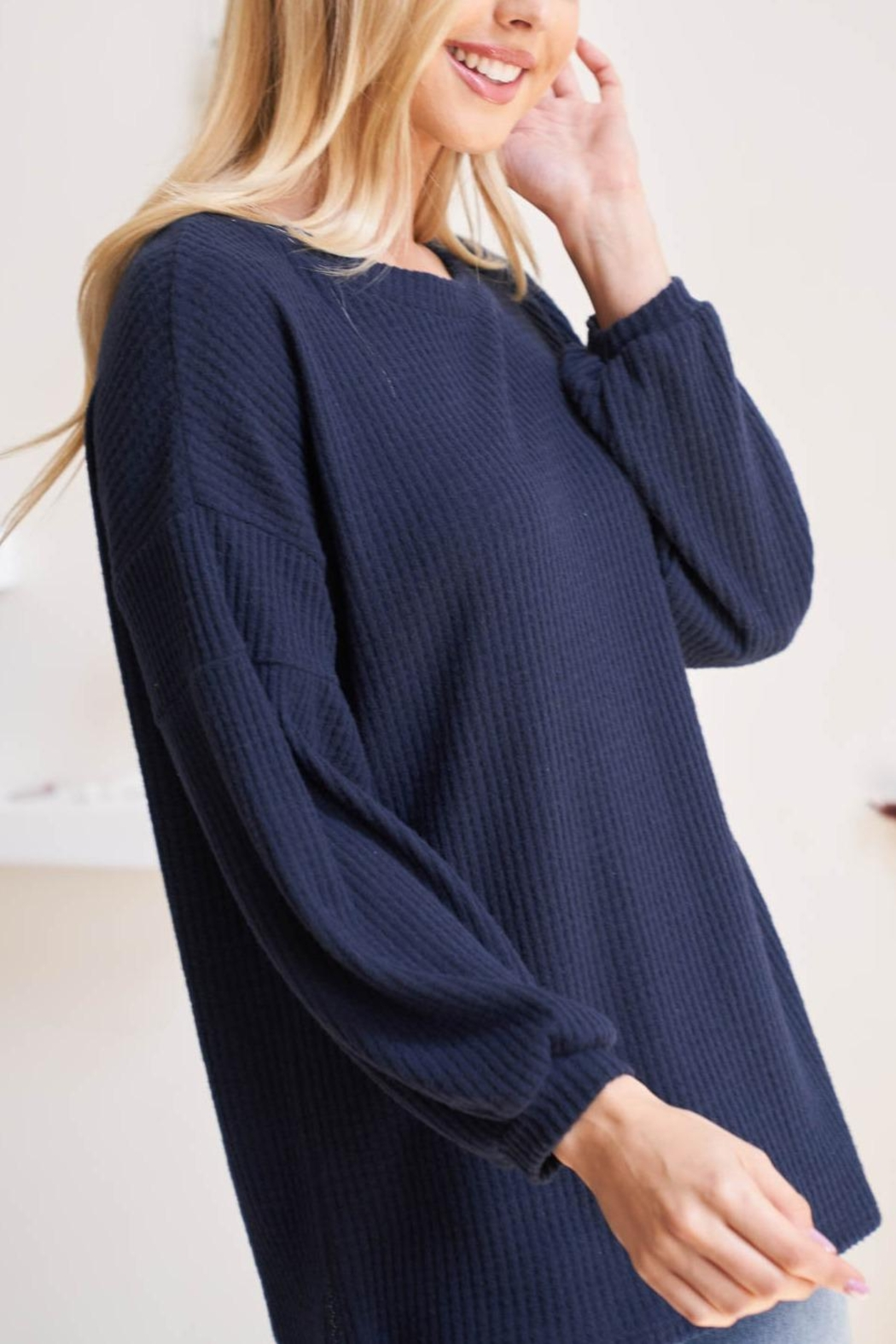 Riah Fashion Solid-Waffle-Puff-Sleeved-Sweater - Side Cropped Image