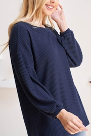 Riah Fashion Solid-Waffle-Puff-Sleeved-Sweater - Side cropped