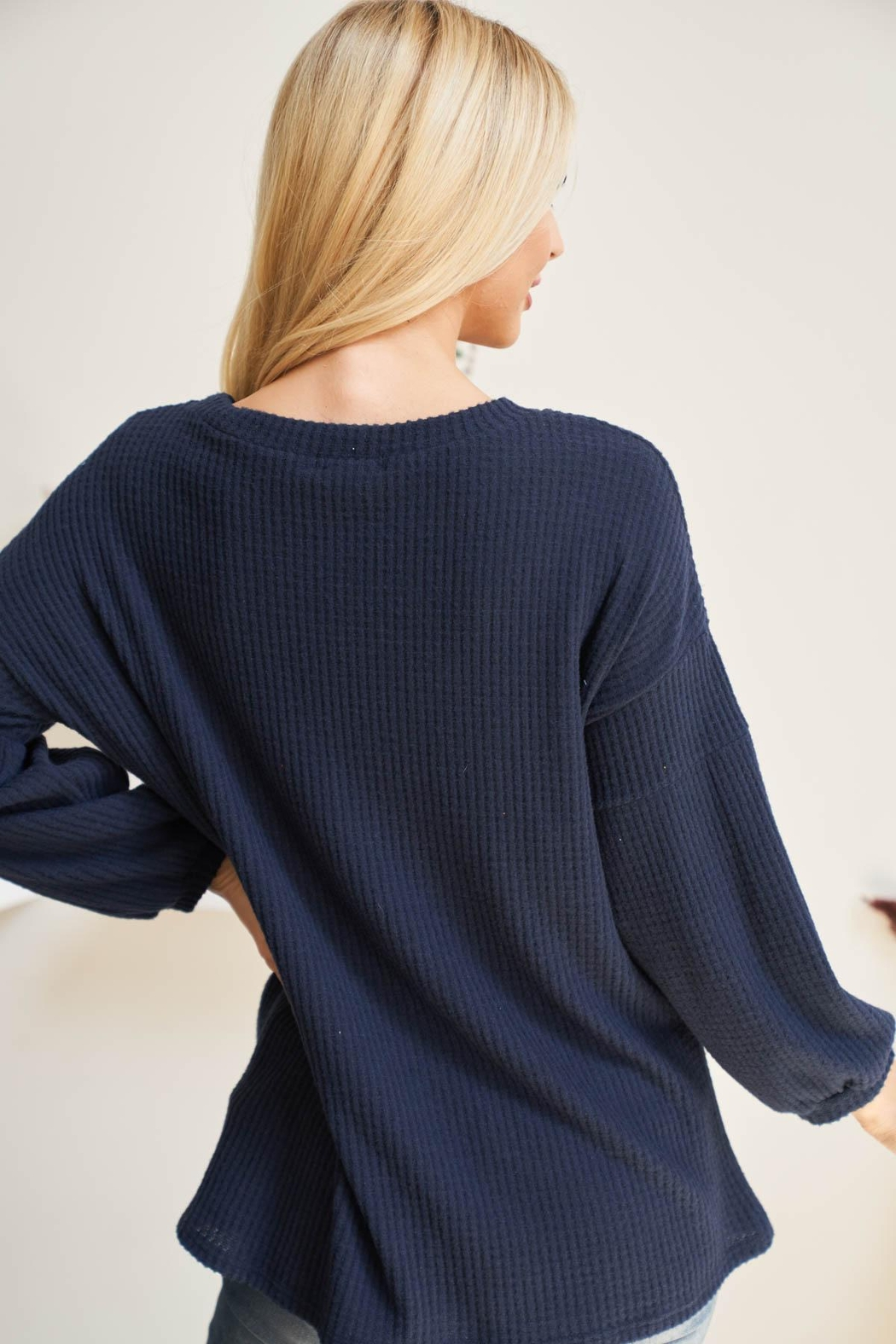 Riah Fashion Solid-Waffle-Puff-Sleeved-Sweater - Front Full Image