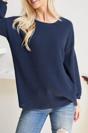 Riah Fashion Solid-Waffle-Puff-Sleeved-Sweater - Back cropped