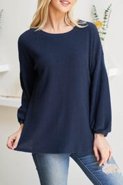 Riah Fashion Solid-Waffle-Puff-Sleeved-Sweater - Front cropped