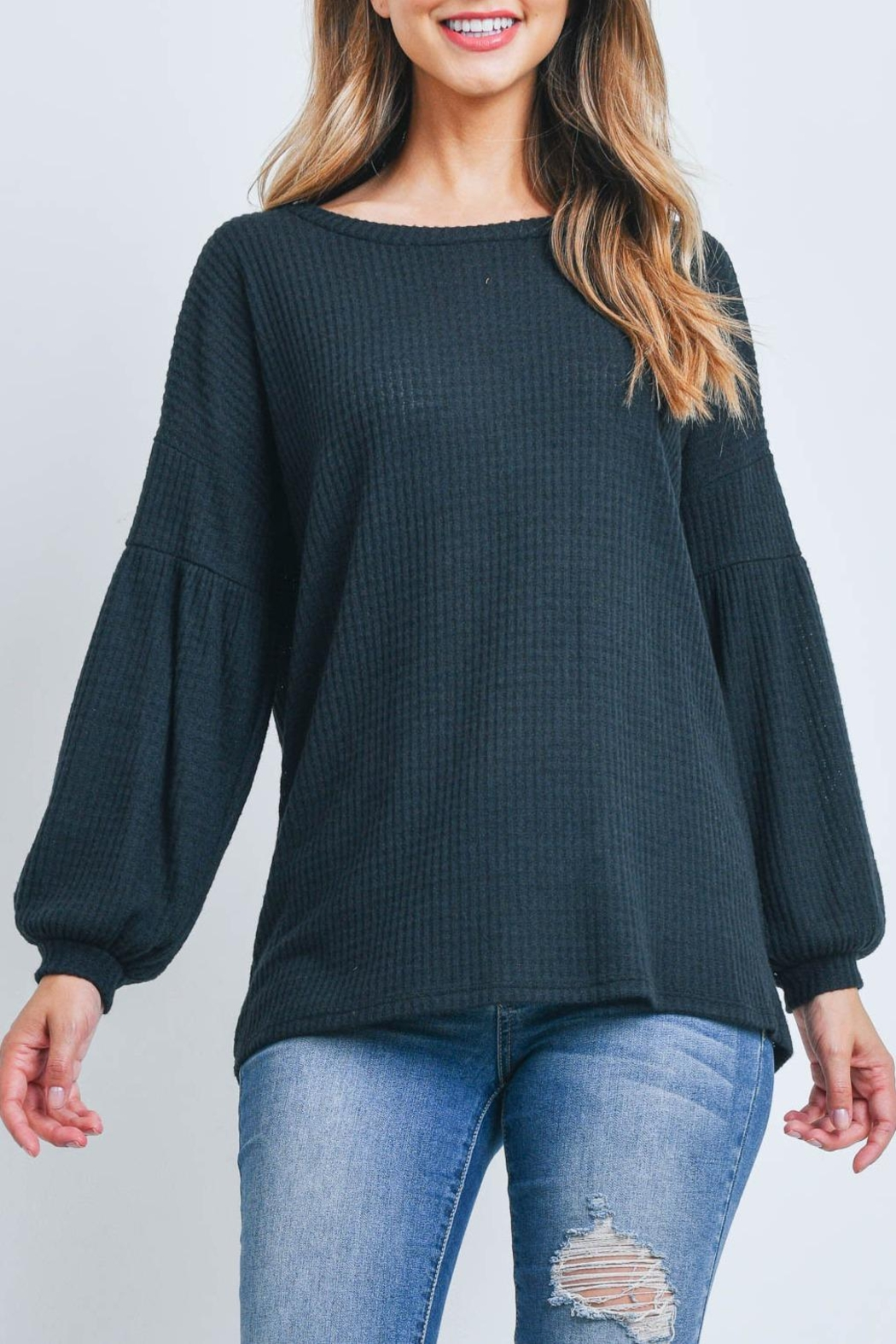 Riah Fashion Solid Waffle Puff-Sleeved-Sweater - Back Cropped Image
