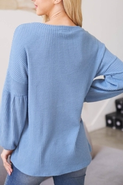Riah Fashion Solid Waffle Puff-Sleeved-Sweater-Denim-Steel - Front full body