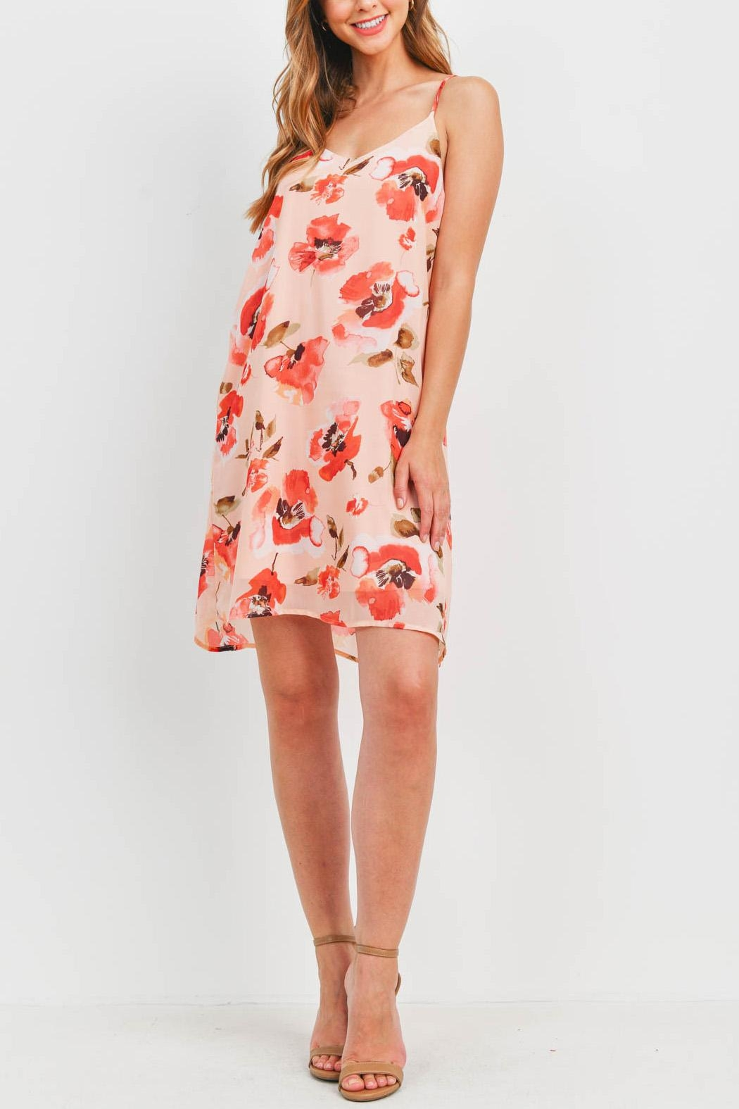 Riah Fashion Spaghetti-Straps-Floral-Print-Dress-With-Inside-Lining - Side Cropped Image