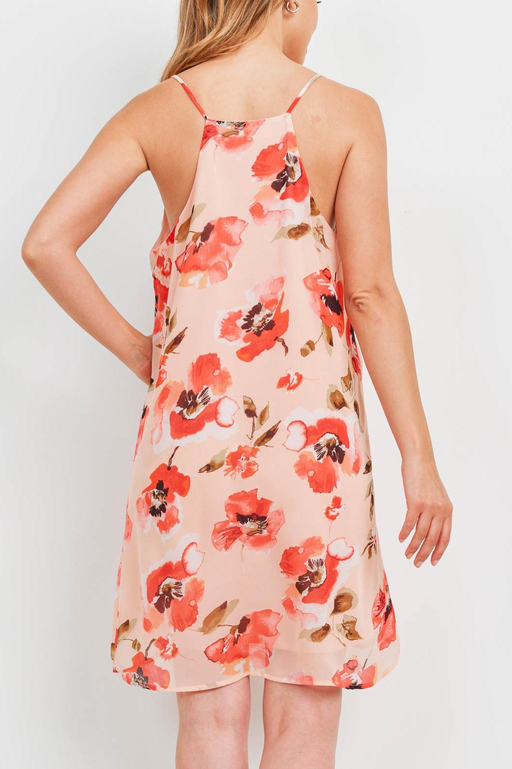 Riah Fashion Spaghetti-Straps-Floral-Print-Dress-With-Inside-Lining - Front Full Image