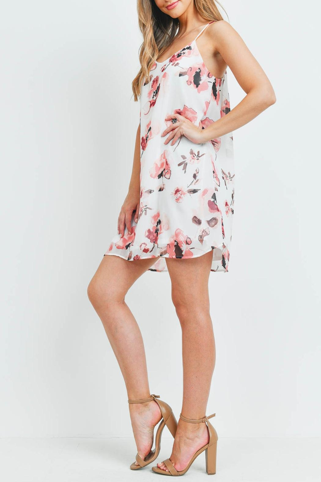 Riah Fashion Spaghetti-Straps-Floral-Print-Dress-With-Inside-Lining - Back Cropped Image