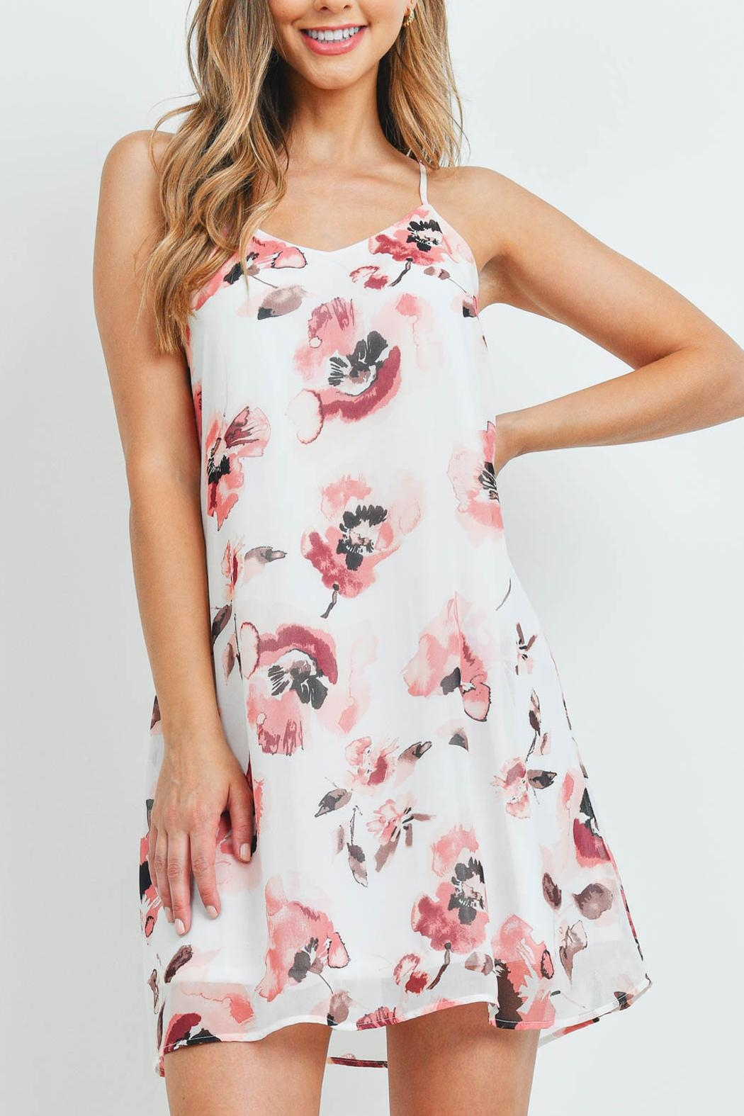 Riah Fashion Spaghetti-Straps-Floral-Print-Dress-With-Inside-Lining - Front Cropped Image