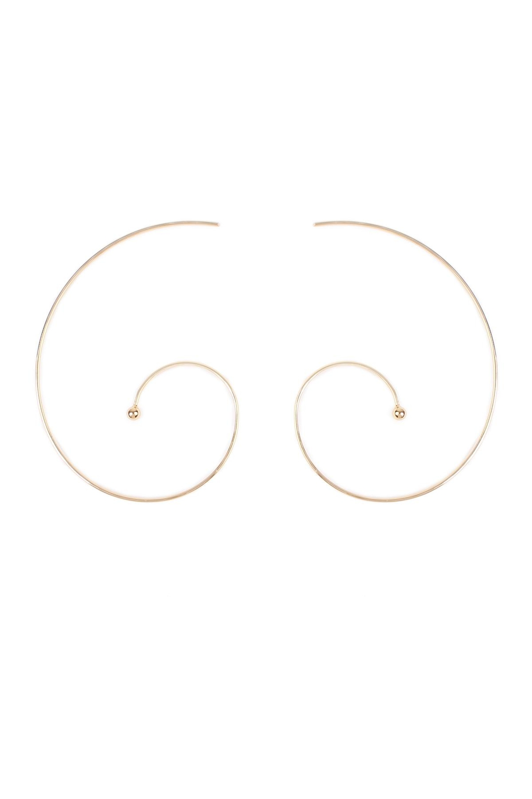Riah Fashion Spiral Brass Earrings - Front Cropped Image