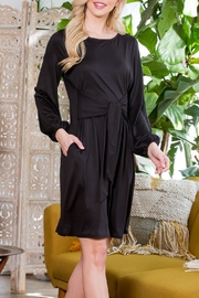 Riah Fashion Spring Puff Sleeve Tie Dress - Front full body