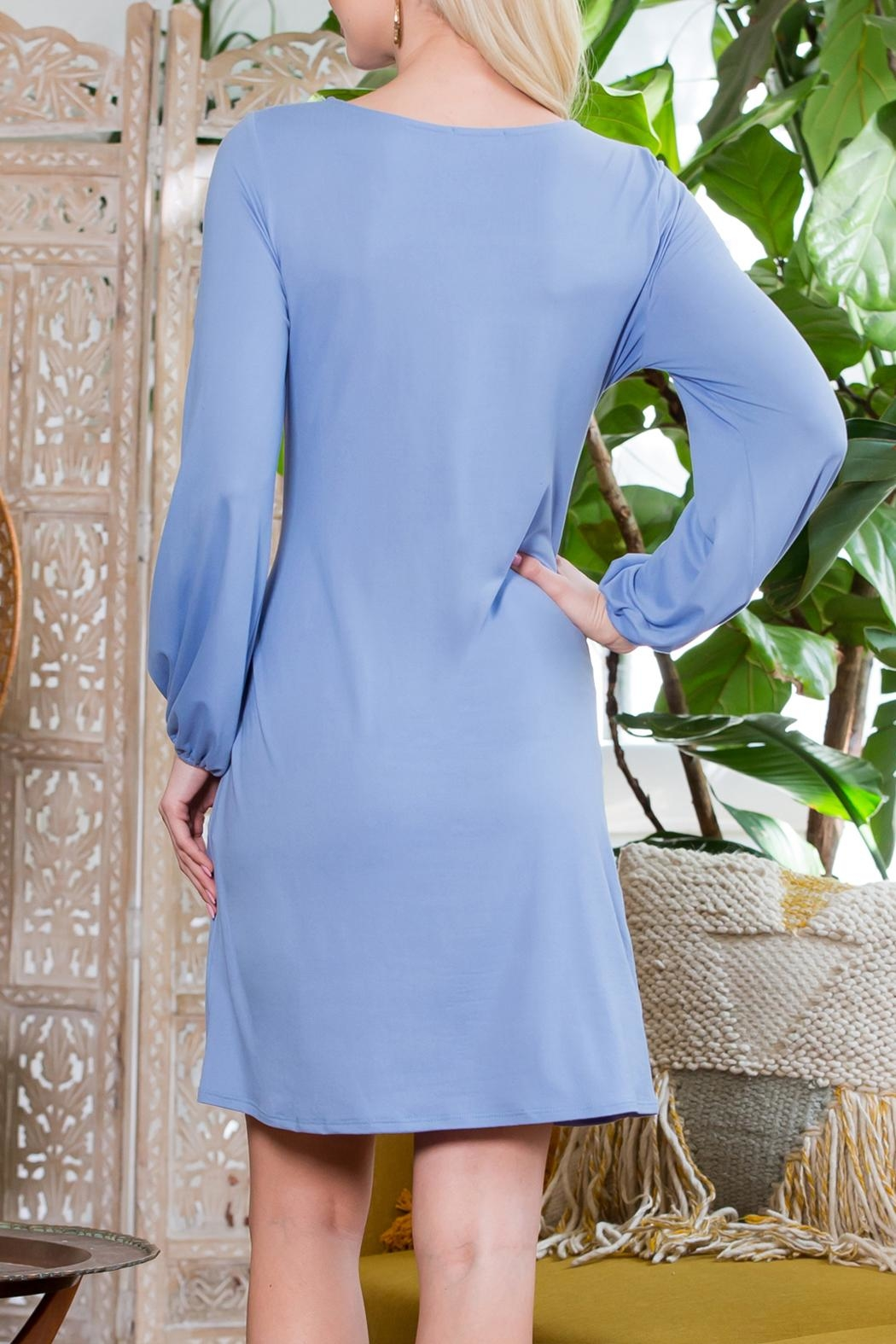 Riah Fashion Spring Puff Sleeve Tie Dress - Side Cropped Image