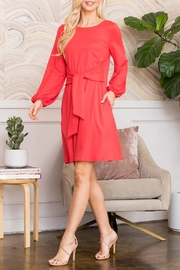 Riah Fashion Spring Puff Sleeve Tie Dress - Side cropped