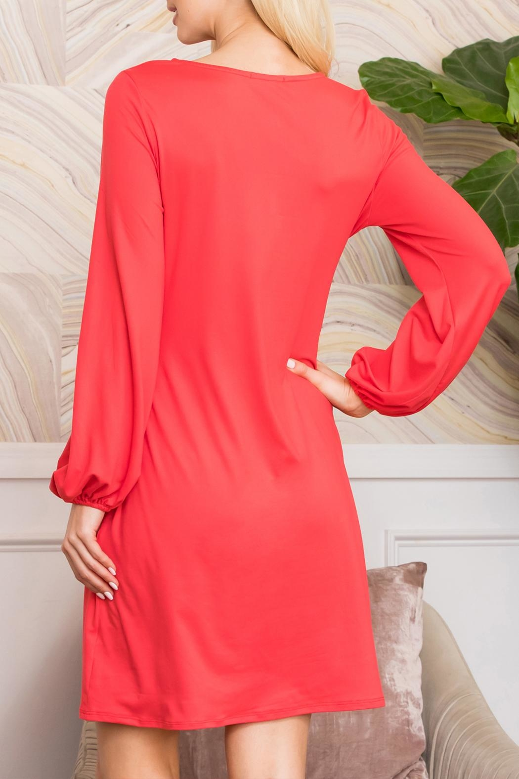 Riah Fashion Spring Puff Sleeve Tie Dress - Back Cropped Image