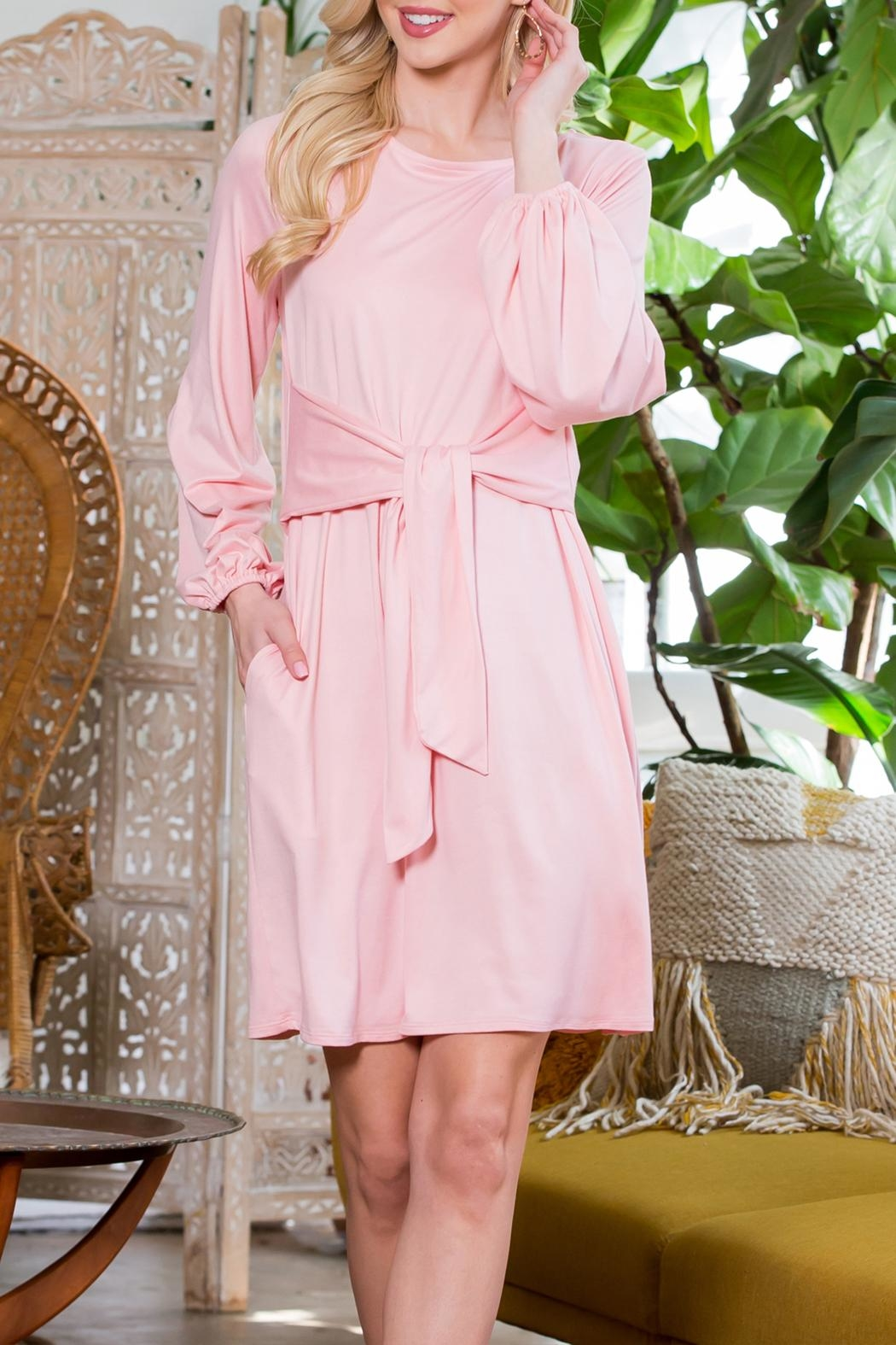 Riah Fashion Spring Puff Sleeve Tie Dress - Front Full Image