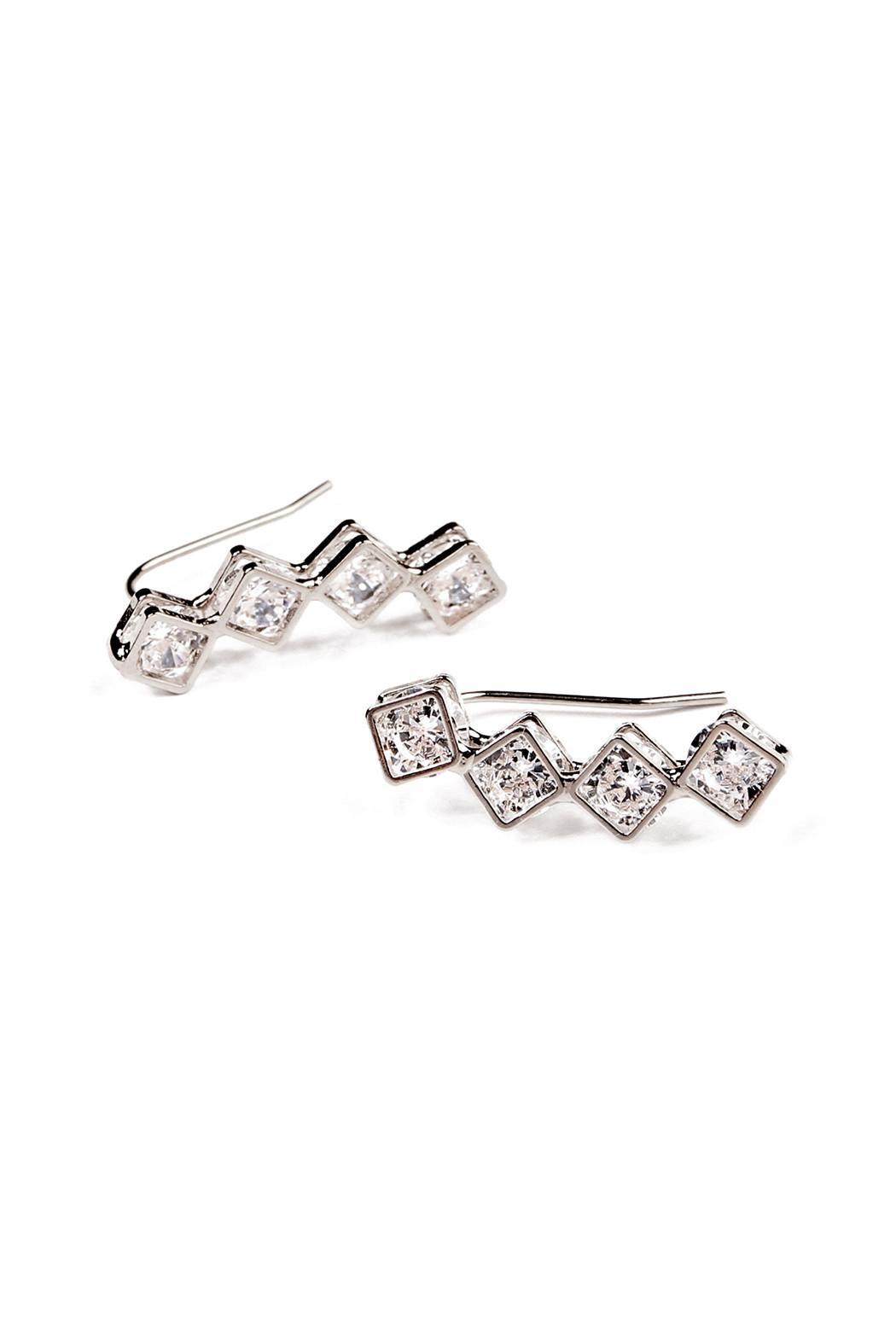 Riah Fashion Square Crawler Earrings - Front Cropped Image