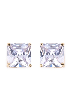 Riah Fashion Square Cubic Zirconia Post Back Earrings - Product List Image