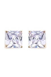 Riah Fashion Square Cubic Zirconia Post Back Earrings - Product Mini Image