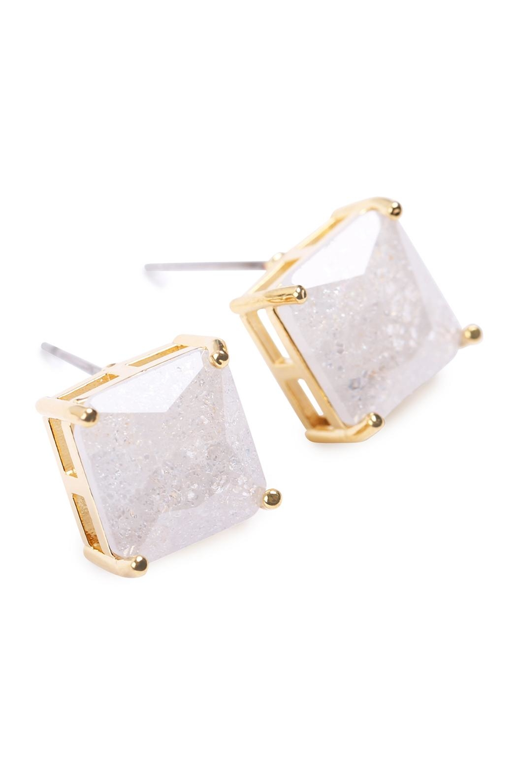 Riah Fashion Square Cubic Zirconia Post Back Earrings - Front Full Image