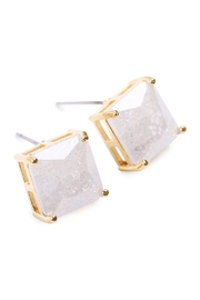 Riah Fashion Square Cubic Zirconia Post Back Earrings - Front full body