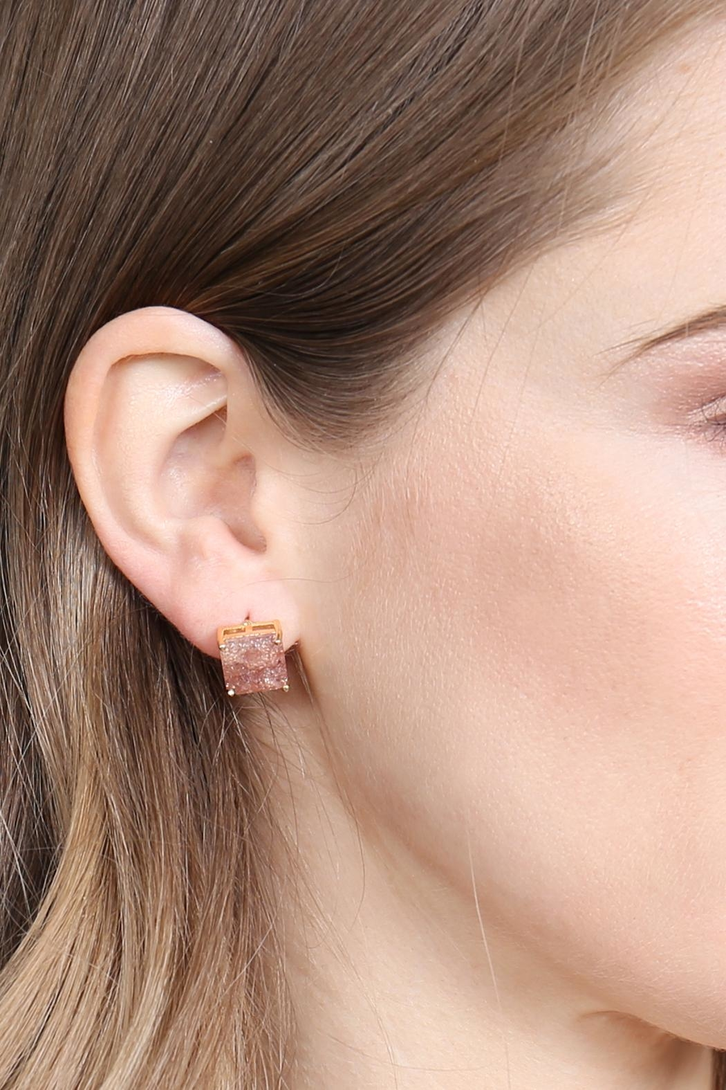 Riah Fashion Square Cubic Zirconia Post Back Earrings - Side Cropped Image