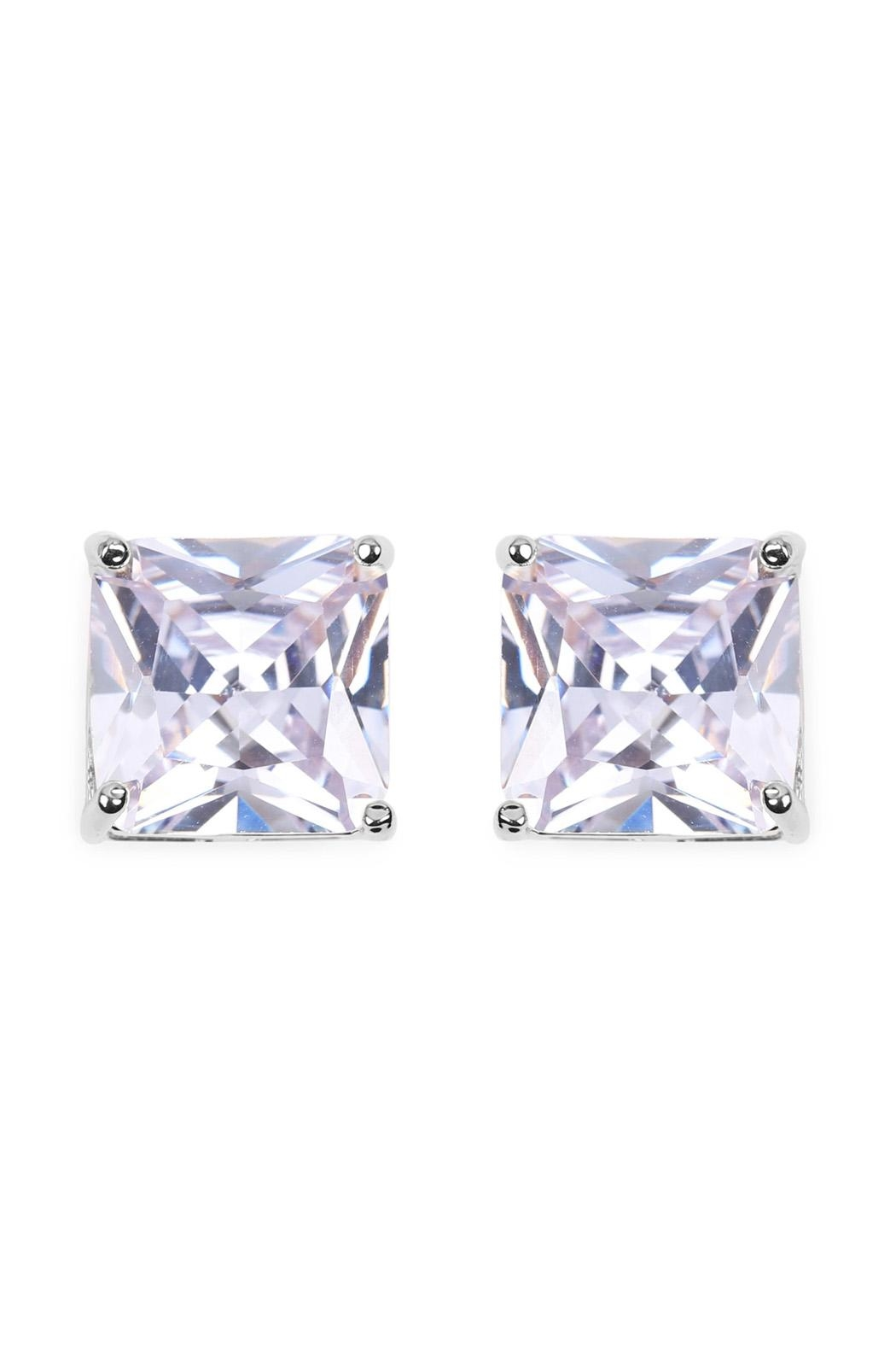 Riah Fashion Square Cubic Zirconia Post Back Earrings - Front Cropped Image