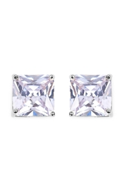 Riah Fashion Square Cubic Zirconia Post Back Earrings - Front cropped