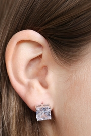 Riah Fashion Square Cubic Zirconia Post Back Earrings - Side cropped
