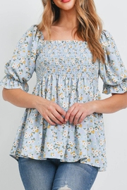 Riah Fashion Square-Neckline-Puff-Sleeve-Smoked-Floral-Top - Product Mini Image