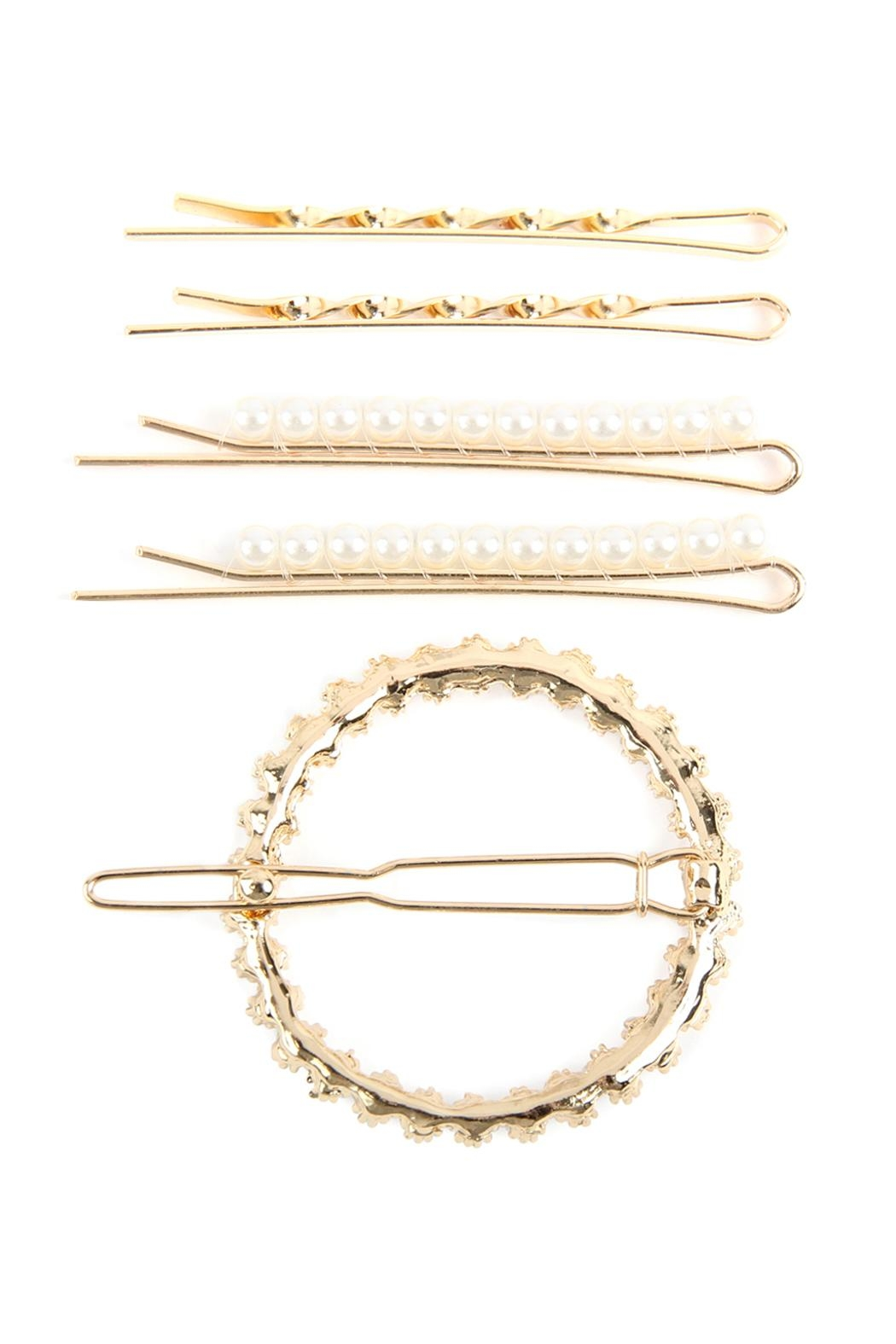 Riah Fashion Square Pearl-Hair-Clip-Set - Front Full Image