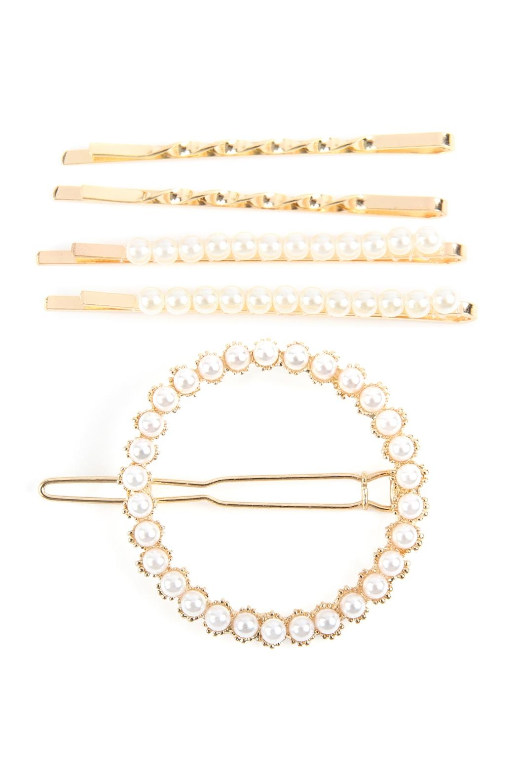 Riah Fashion Square Pearl-Hair-Clip-Set - Front Cropped Image