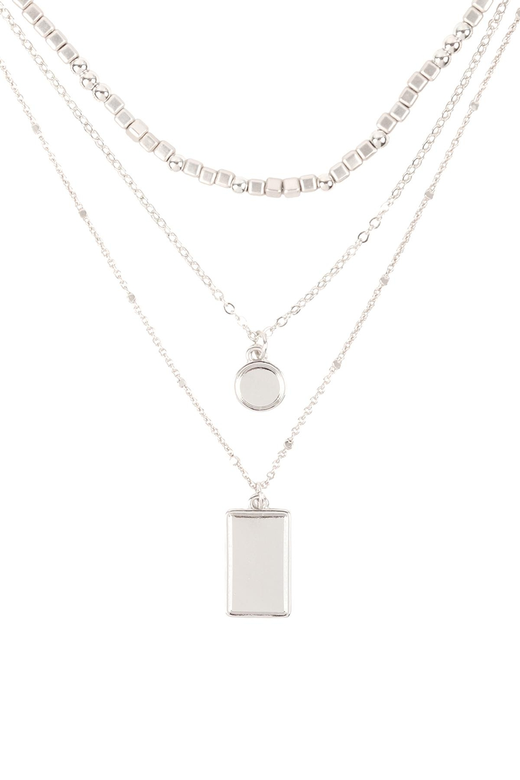Riah Fashion Square-Round-Pendant-Layered-Mix-Chain-Necklace - Front Cropped Image